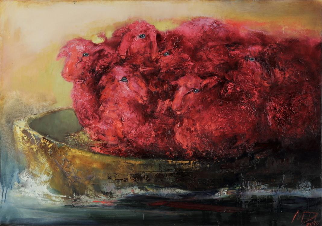 <span>Drawings</span>Rafting of the Red Sheep/ Raudonų avių plukdymas